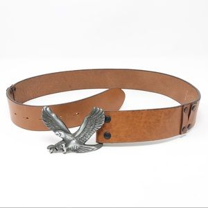 GAP Vintage Eagle Leather Belt Made in Italy Brown